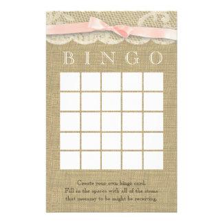 Bingo de la ducha del cordón y del arco del vintag personalized stationery