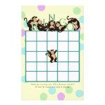 Bingo de la fiesta de bienvenida al bebé del mono papeleria