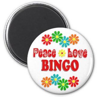Bingo del amor de la paz imán redondo 5 cm