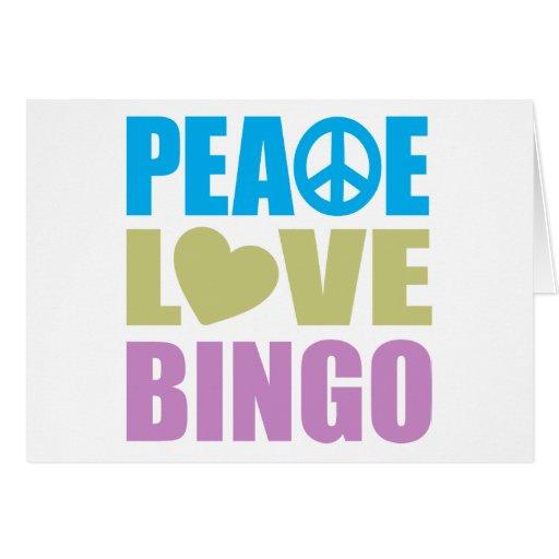 Bingo del amor de la paz tarjeta pequeña