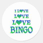 Bingo del amor del amor etiqueta redonda