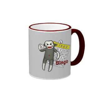 Bingo del mono del calcetín tazas de café