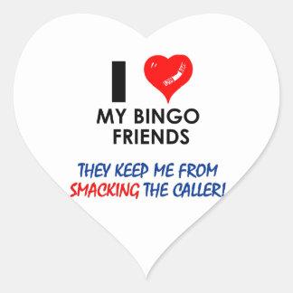 ¡BINGO! ¡Diseños del bingo para el jugador Pegatina En Forma De Corazón