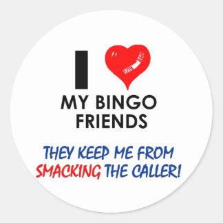 ¡BINGO! ¡Diseños del bingo para el jugador Pegatina Redonda