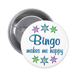 Bingo feliz pin redondo de 2 pulgadas
