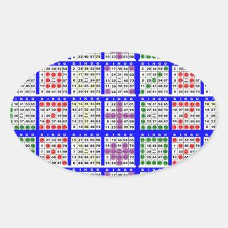 Bingo Game Patterns Large Grid Oval Sticker
