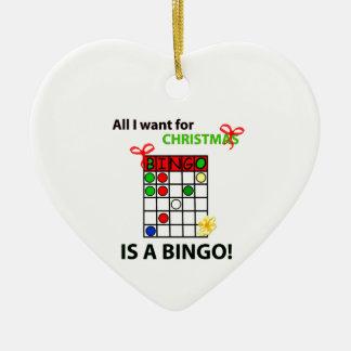 BINGO I want a bingo  for Christmas Ceramic Ornament