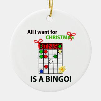 BINGO I want a bingo  for Christmas Double-Sided Ceramic Round Christmas Ornament