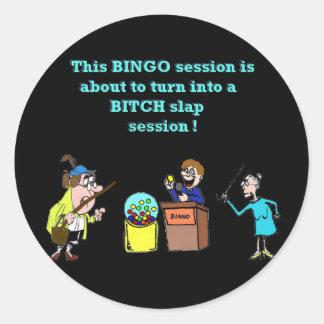Bingo ido malo pegatina redonda