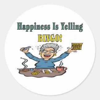 Bingo: La felicidad es Pegatina Redonda