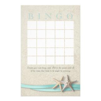 Bingo nupcial de la ducha de las estrellas de mar papeleria personalizada
