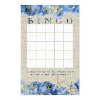 Bingo nupcial de la ducha de las estrellas de mar   papeleria