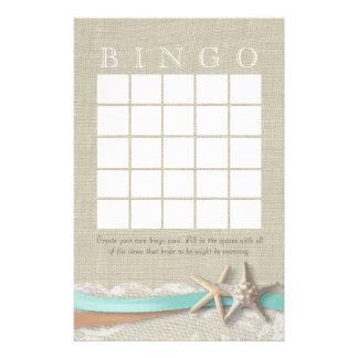 Bingo nupcial de la ducha de las estrellas de mar personalized stationery