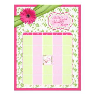 Bingo nupcial floral de la ducha de Gerber del ver Plantilla De Membrete