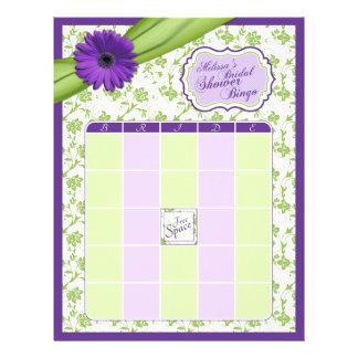 Bingo nupcial floral de la ducha del verde púrpura membrete personalizado
