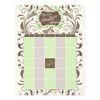 Bingo nupcial personalizado Brown verde de la duch Membrete Personalizado