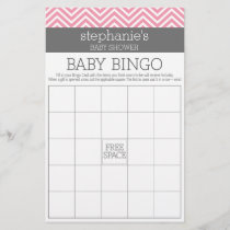 Bingo Pastel Pink Chevrons Baby Shower Game