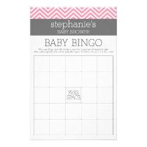 Bingo Pastel Pink Chevrons Baby Shower Game Flyer