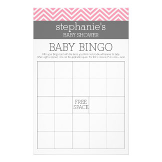 "Bingo Pastel Pink Chevrons Baby Shower Game 5.5"" X 8.5"" Flyer"
