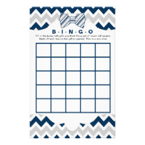 Bingo purse baby shower games, navy gray bow tie flyer