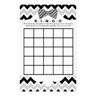 Bingo purse boy baby shower games, black bow tie flyer