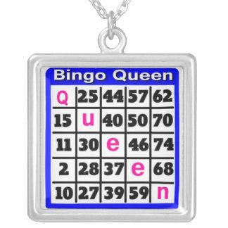 Bingo Queen Square Pendant Necklace