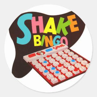 Bingo retro de la sacudida del juego de mesa del pegatina redonda