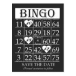 Bingo Save the Date Black & White Postcard