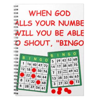 bingo spiral note book