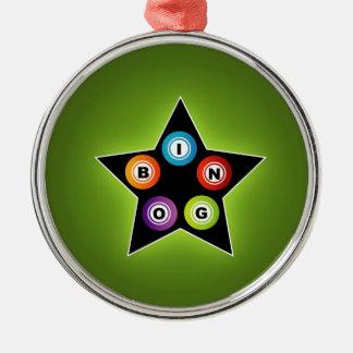 Bingo Star Round Metal Christmas Ornament