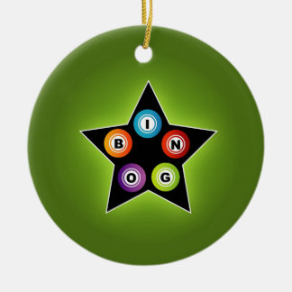 Bingo Star Double-Sided Ceramic Round Christmas Ornament