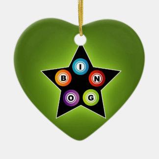 Bingo Star Double-Sided Heart Ceramic Christmas Ornament