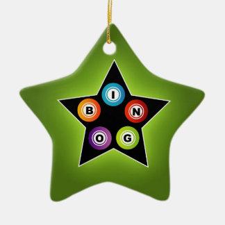 Bingo Star Double-Sided Star Ceramic Christmas Ornament