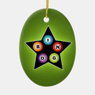 Bingo Star Double-Sided Oval Ceramic Christmas Ornament