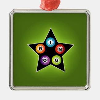 Bingo Star Square Metal Christmas Ornament
