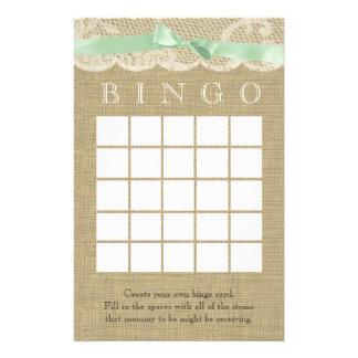 Bingo verde de la ducha del cordón del arco y del  personalized stationery