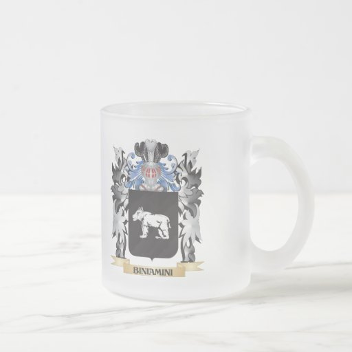 Biniamini Coat of Arms - Family Crest 10 Oz Frosted Glass Coffee Mug