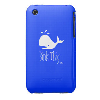 Bink Thig™_White-on-Blue Whale iPhone 3 Case-Mate Case