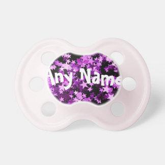 Binkie personalizado brillo púrpura del pacificado chupetes