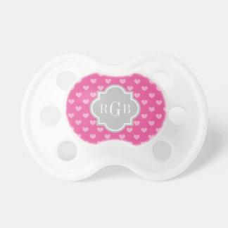 Binkie rosado gris del paci del bebé del monograma chupetes para bebés