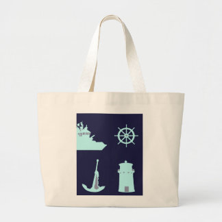 Binoculars, Anchor, Ship's Helm and Lighthouse Tote Bag