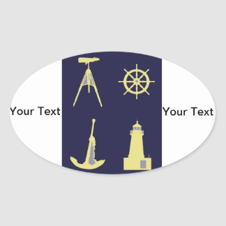 Binoculars, Anchor, Ship's Helm and Lighthouse Oval Sticker