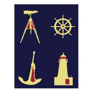 Binoculars, Anchor, Ship's Helm and Lighthouse Postcard