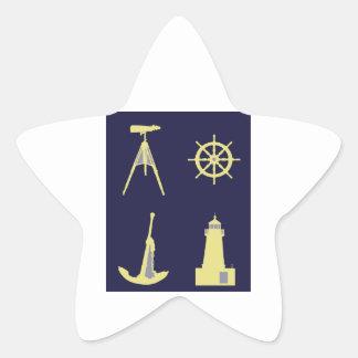 Binoculars, Anchor, Ship's Helm and Lighthouse Star Sticker