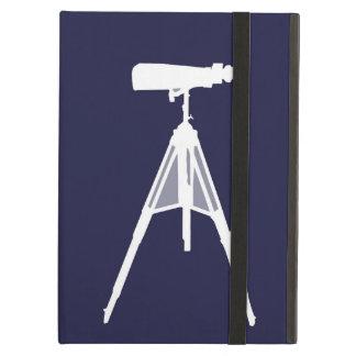 Binoculars on plain navy blue background. iPad air covers