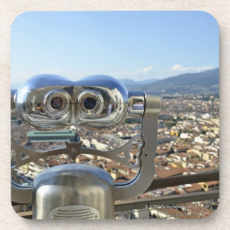 Binoculars overlooking Florence cityscape, top Beverage Coaster