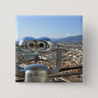 Binoculars overlooking Florence cityscape, top Pinback Button