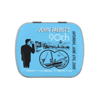 Binoculars Sailboat 90th Birthday Thank You Candy Jelly Belly Tin