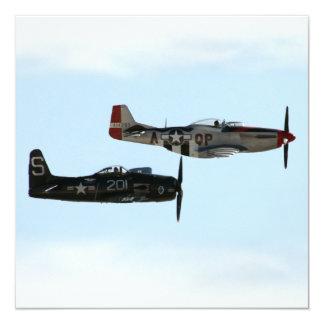 """Binturong de F8F y mustango de P-51D Invitación 5.25"""" X 5.25"""""""