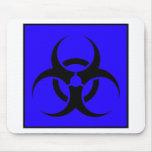 Bio azul de cuidado del símbolo de la muestra del  alfombrilla de raton
